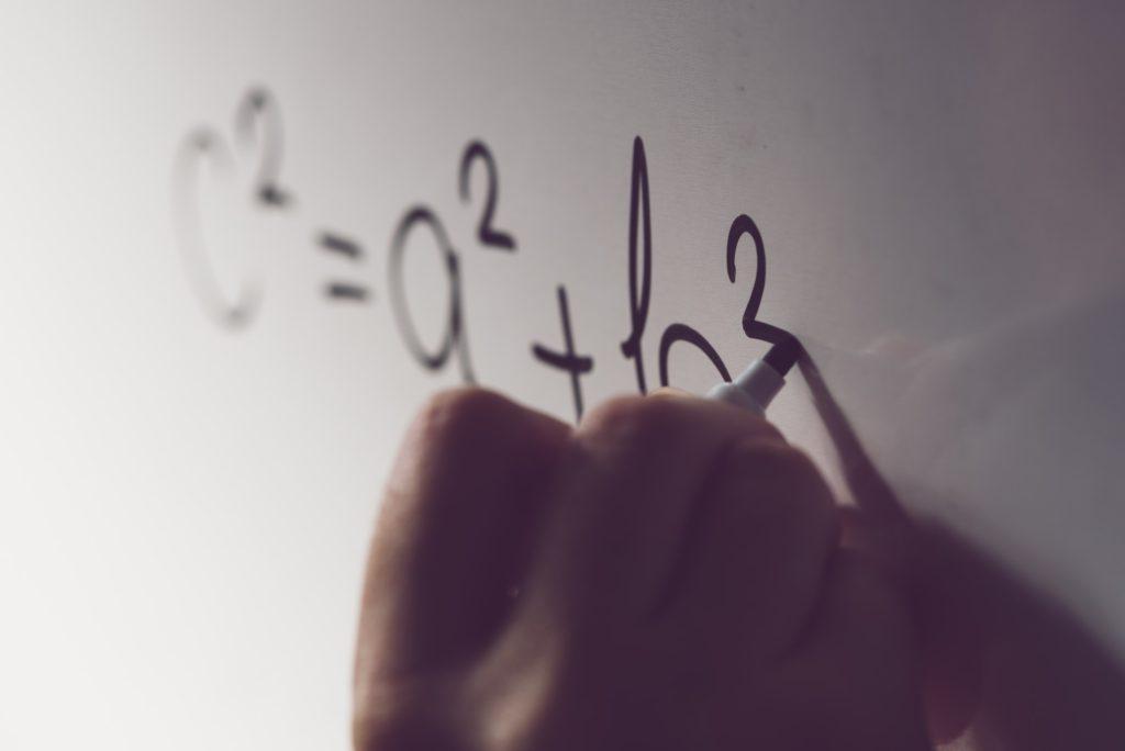 Pythagorean theorem, math class in the school